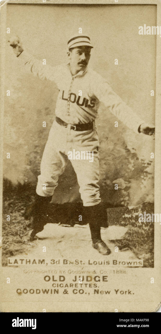 Vertical Sepia Photograph On A Baseball Card Of Latham He Is