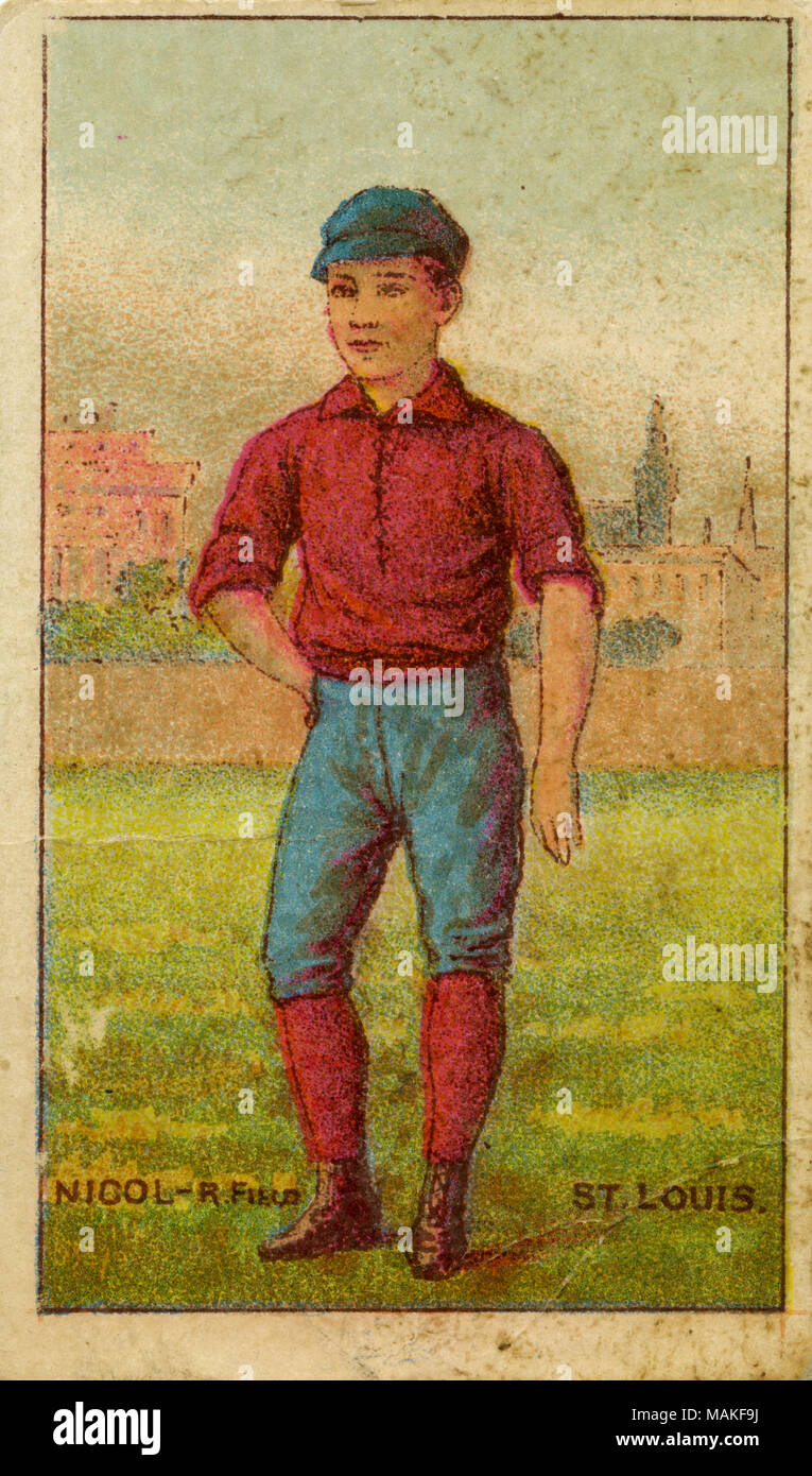 Vertical, color illustration of Nicol on a baseball card. He is wearing blue pants and a red shirt and socks. His hat is also blue. He is posed in front of a fence with a house in the background. Below reads 'Nicol - R. Field - St. Louis.' The back reads 'We will pack in the celebrated GOLD COIN CHEWING TOBACCO, the portraits of all the leading base-ball players, police inspectors and captains, jockeys, and actors in the country in full uniform and costume. Continue to save the wrappers. They are valuable.' Title: Buchner Gold Coin baseball card for St. Louis Brown's right fielder, Nicol.  . 1 - Stock Image
