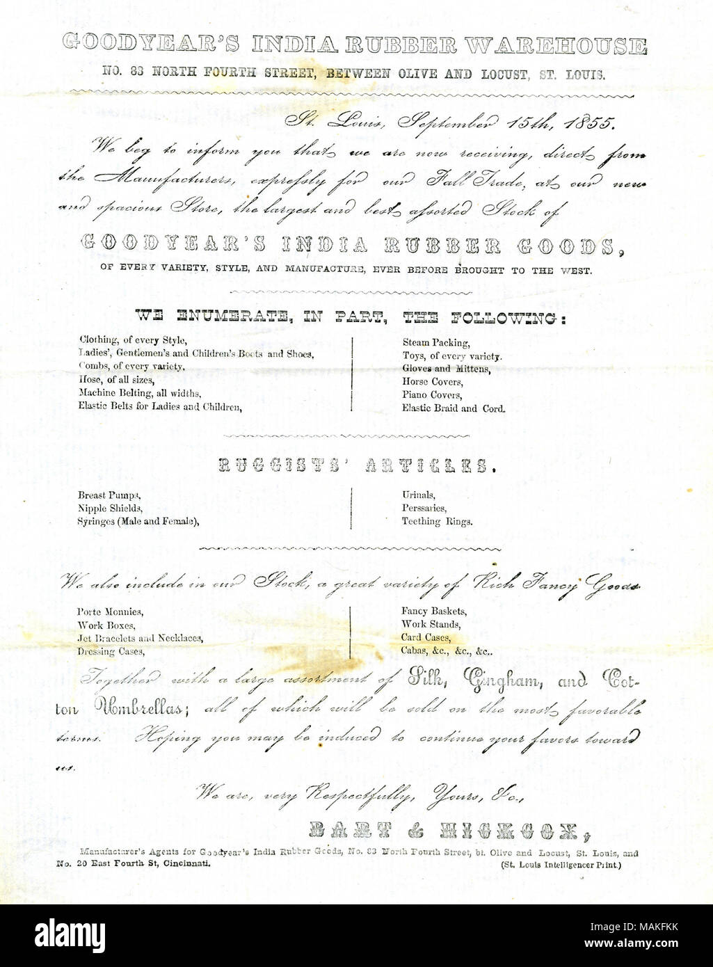India Archives Stock Photos Images Alamy Ner V Ori Circular Of Bart Hickcox Manufacturers Agents For Goodyears Rubber Goods 83 North