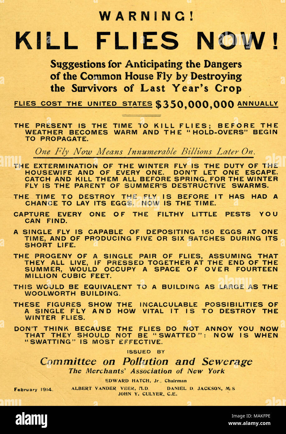 """Circular titled """"Warning! Kill Flies Now! Suggestions for Anticipating the Dangers of the Common House Fly by Destroying the Survivors of Last Year's Crop."""" Issued by the Merchants' Association of New York's Committee on Pollution and Sewerage. 1914 Feb. Circulars Collection, Missouri History Museum Archives, St. Louis. - Stock Image"""