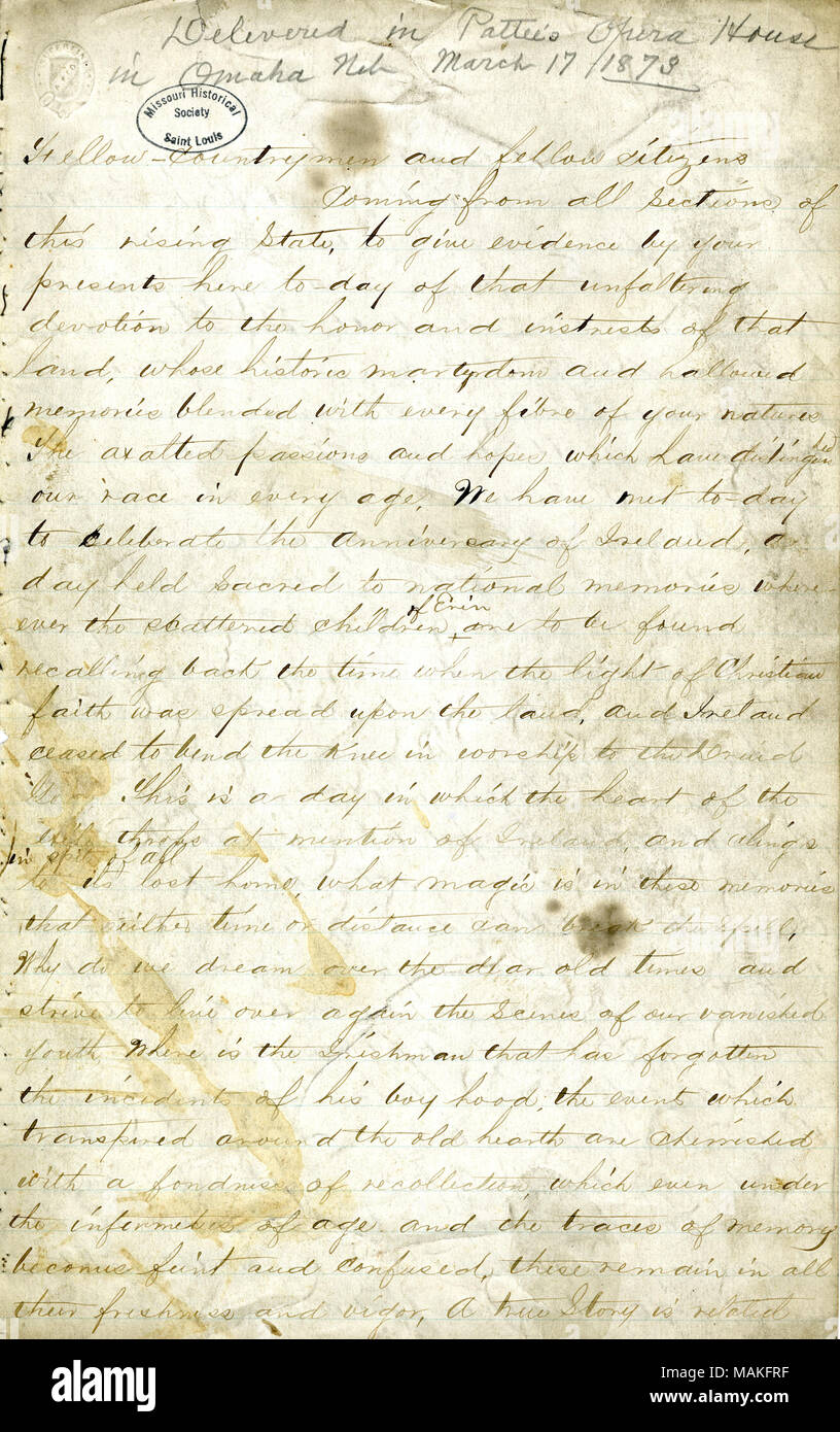 Delivered in Patee's Opera House, Omaha, Nebraska, March 17, 1873. Title: Manuscript speech of John O'Keefe on the history of Ireland's struggle with England, March 17, 1873  . 17 March 1873. O'Keefe, John, 1847-1923 - Stock Image