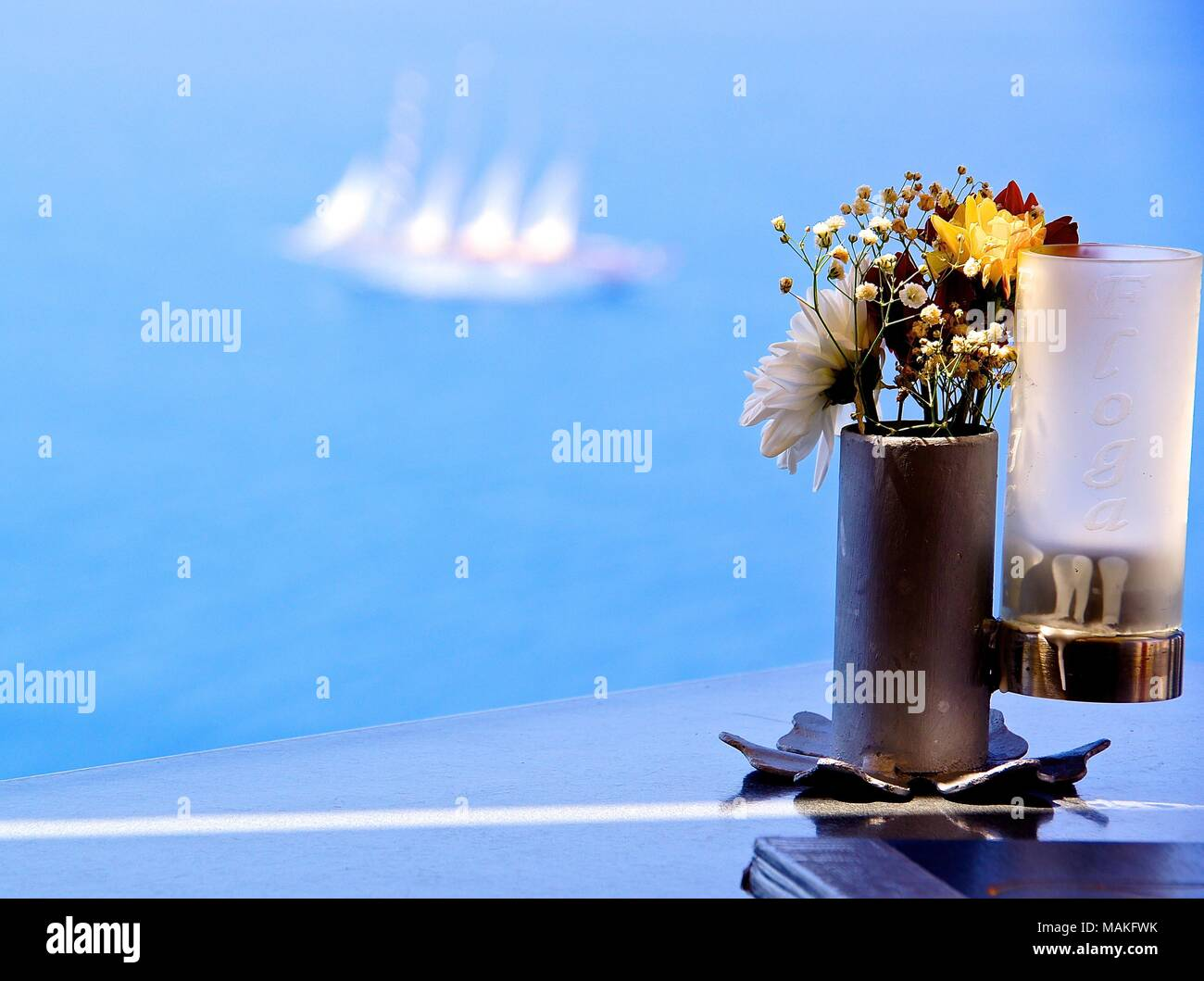 Table decoration overseeing sea Stock Photo