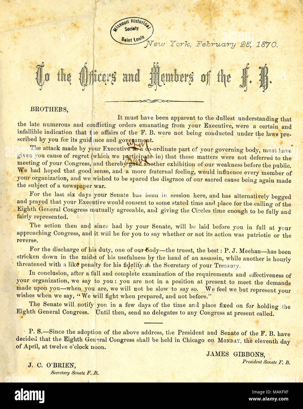 Title circular letter of james gibbons and j c obrien to the title circular letter of james gibbons and j c obrien to the officers and members of the fenian brotherhood new york february 28 1870 thecheapjerseys Choice Image