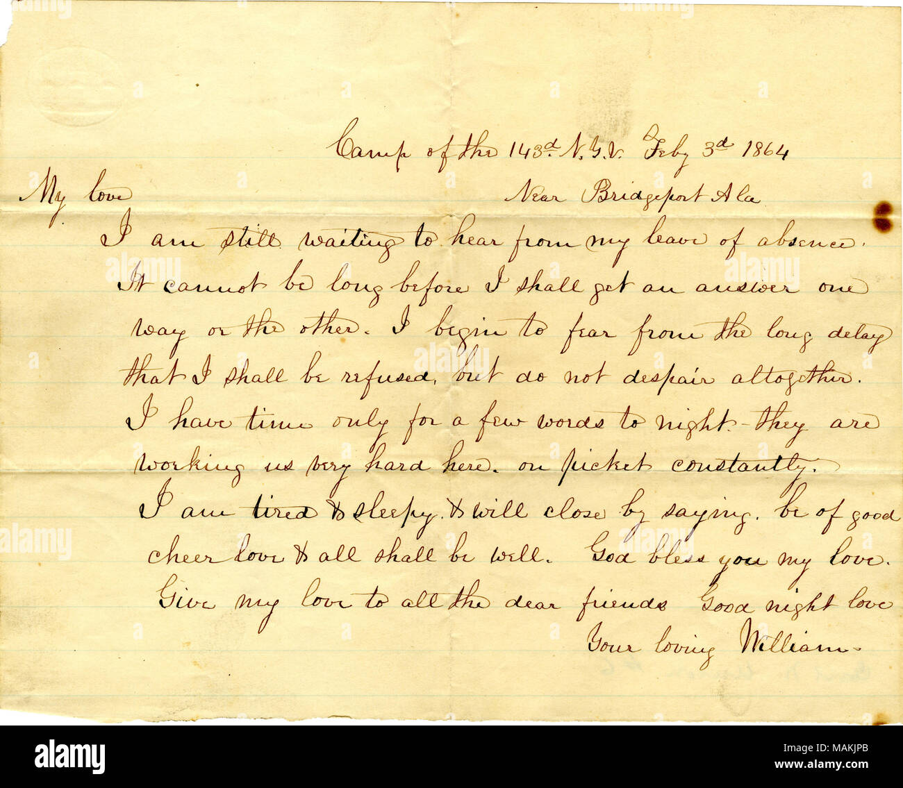 Mention his worries that he will not be granted a leave of absence. Title: Letter signed William [William S. Moffat], camp of the 143rd N.Y.V., near Bridgeport, Ala., [to his wife Matilda B. Moffat], February 3, 1864  . 3 February 1864. Moffat, William S., -1898 - Stock Image