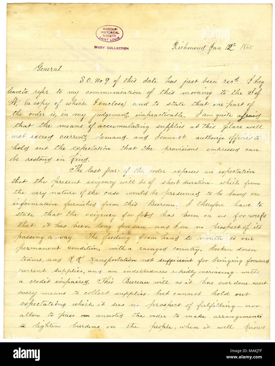 States, '?ǪI am quite afraid that the means of accumulating supplies at this place will not exceed current demand and I cannot authorize officers to hold out the expectation that the provisions impressed can be restored?Ǫ' Title: Copy of letter of L.B. Northrop, Richmond, to General S. Cooper, Richmond, Va., January 12, 1865  . 12 January 1865. Northrop, Lucius Bellinger, 1811-1894 - Stock Image