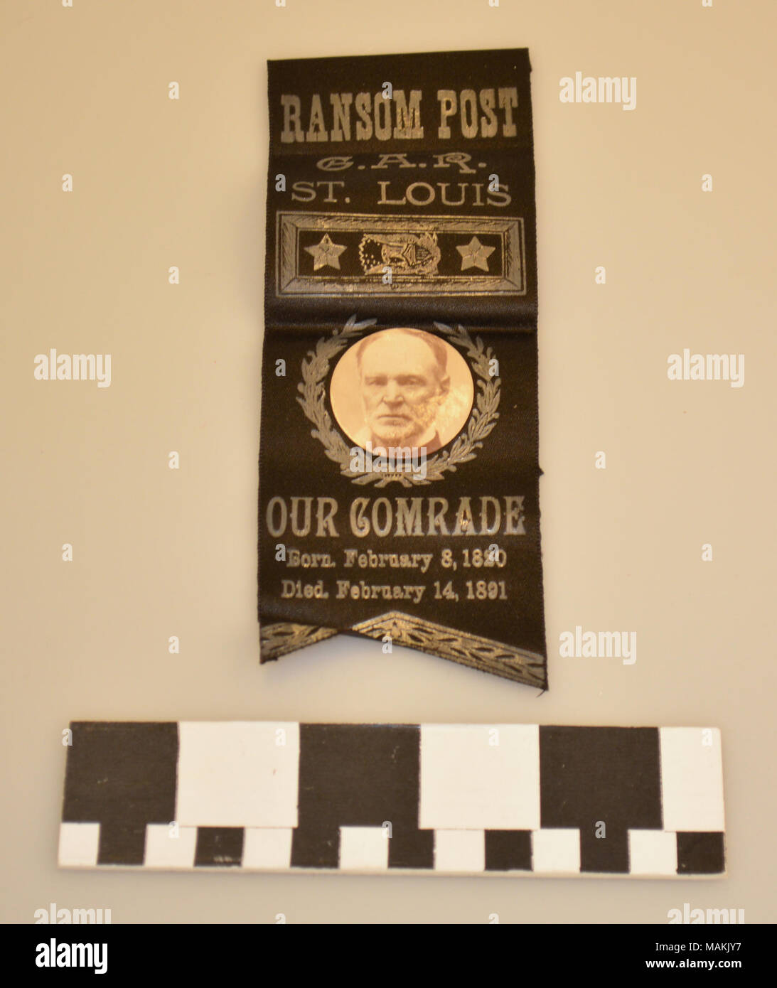 Black Grand Army of the Republic ribbon badge memorializing William T. Sherman, 1891. This ribbon belonged to David Perkins Grier. Title: Black Grand Army of the Republic Ribbon Badge Memorializing William T. Sherman  . 1891. - Stock Image