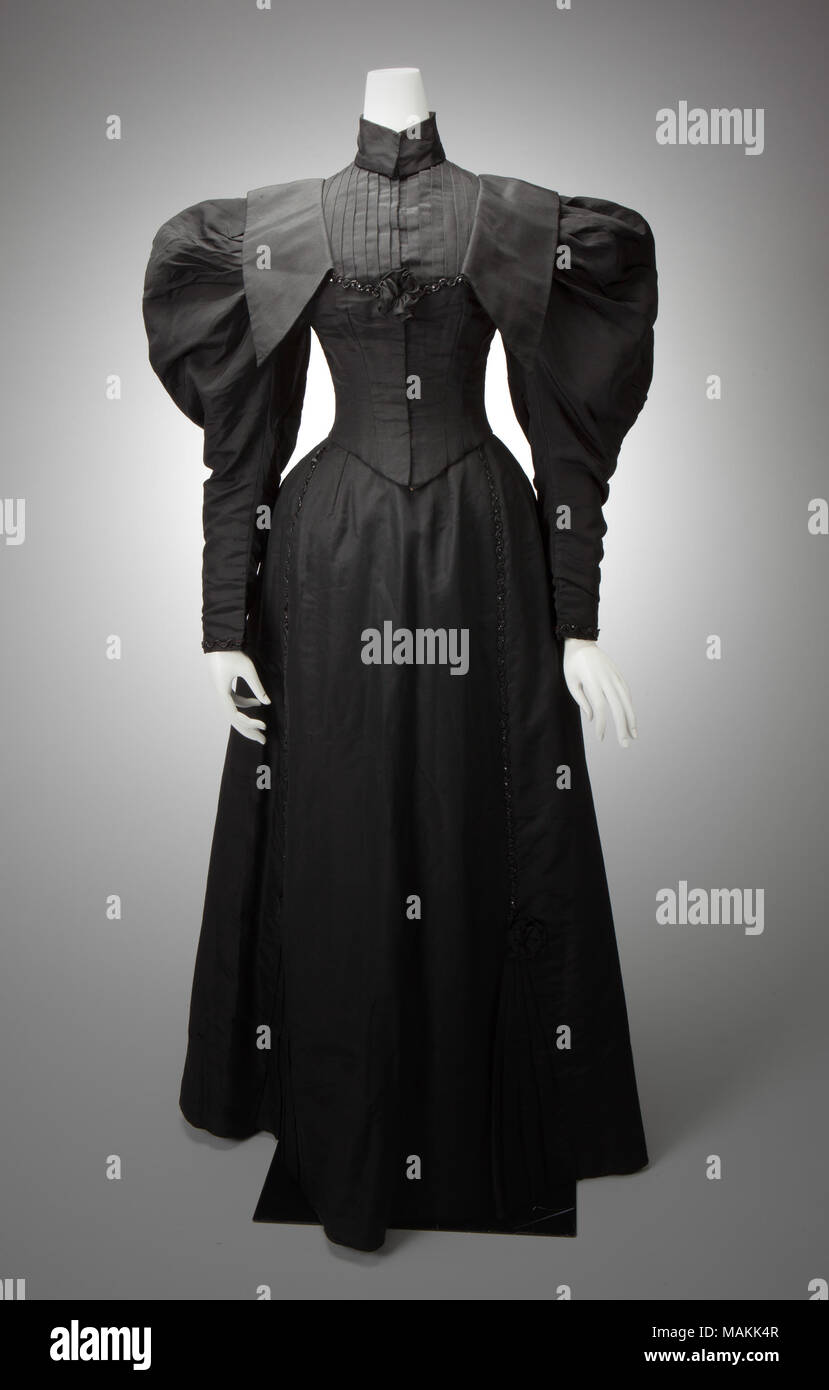 0803e8a6d4d7 Black two-piece second day dress with large leg o' mutton sleeves, and
