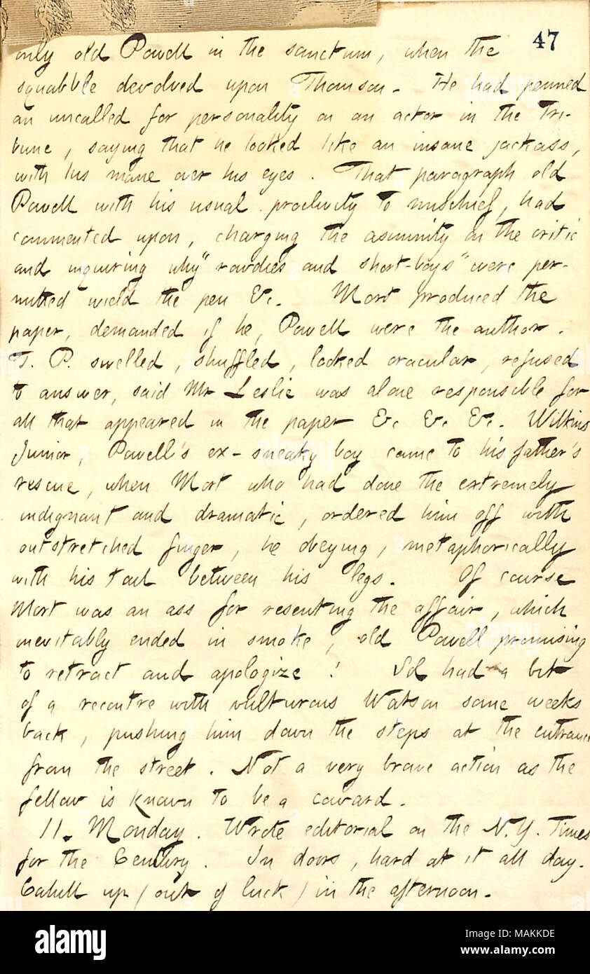 Regarding a conflict between Thomas Powell and Mort Thomson over a misquotation published in Frank Leslie's Illustrated Newspaper.  Transcription: only old [Thomas] Powell in the sanctum, when the squabble devolved upon [Mortimer] Thomson. He had penned an uncalled for personality on an actor in the Tribune, saying he looked like an insane jackass, with his mane over his eyes. That paragraph old Powell with his usual proclivity to mischief, had commented upon, charging the asininity of the critic and inquiring why 'rowdies and short-boys' were permitted wield the pen &c. Mort produced the pape - Stock Image