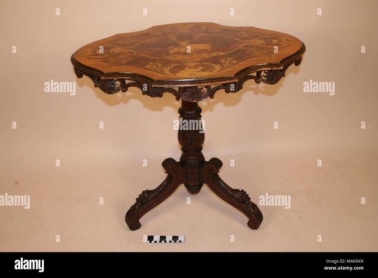 Oval Tilt Top Inlaid Table From Worldu0027s Fair Title: Oval Tilt Top Table  From Worldu0027s