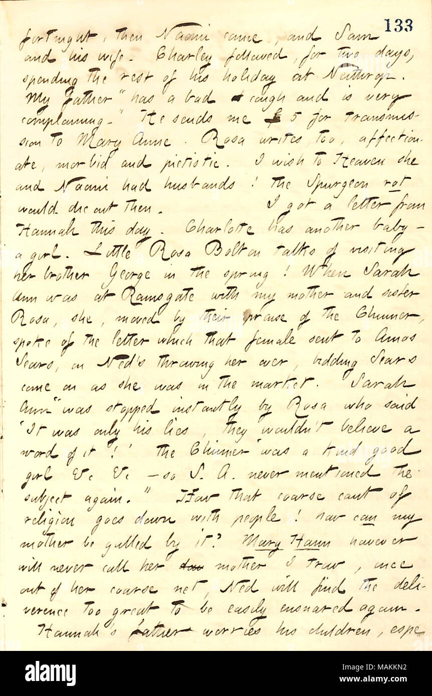 Describes letters received from Hannah Bennett and his