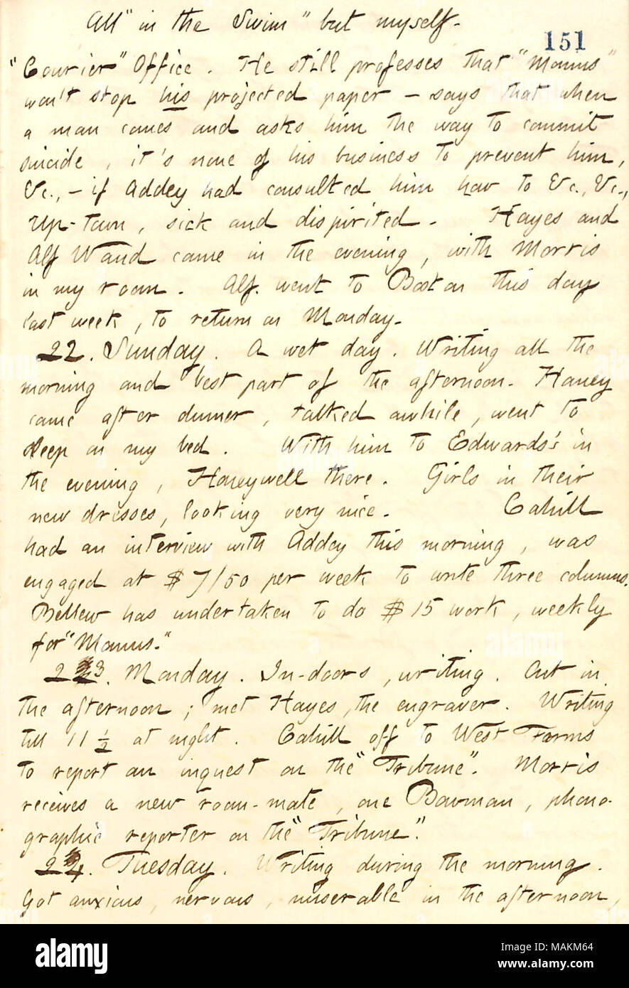 Regarding the people hired by Momus.  Transcription: All ?ǣin the Swim ? but myself. ?ǣCourier ? Office. He [Charles Briggs] still professes that ?ǣMomus ? won ?t stop his projected paper  ? says that when a man comes and asks him the way to commit suicide, it ?s none of his business to prevent him, &c.  ? if [Henry] Addey had consulted him how to &c., &c. Up-town, sick and dispirited. [Edward] Hayes and Alf Waud came in the evening, with [James] Morris in my room. Alf went to Boston this day last week, to return on Monday. 22. Sunday. A wet day. Writing all the morning and best part of the af - Stock Image