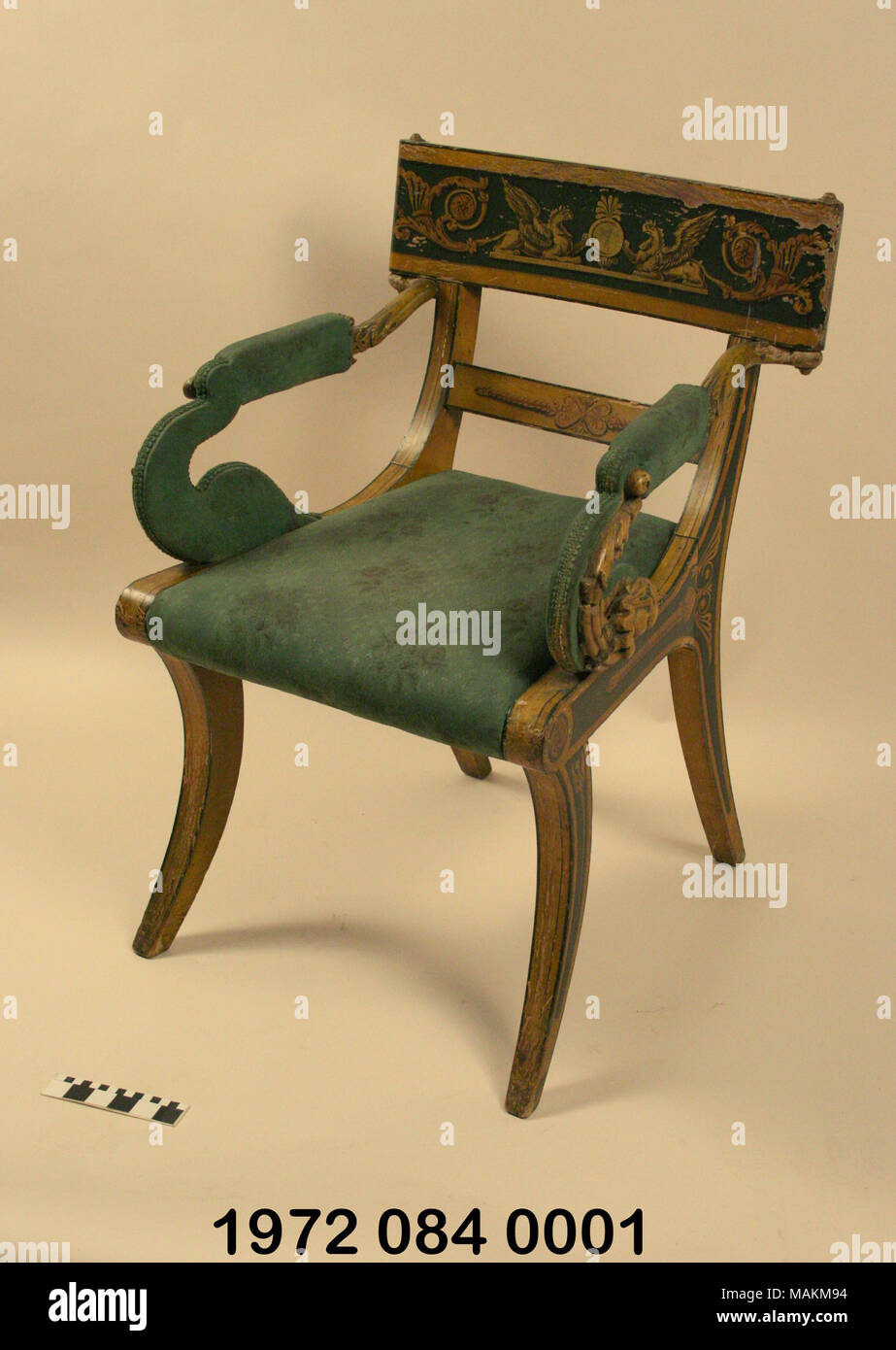Empire style green painted fancy chair with upholstered seat and arms. According to family tradition they were bought from estate of Delassus. & Empire style green painted fancy chair with upholstered seat and ...