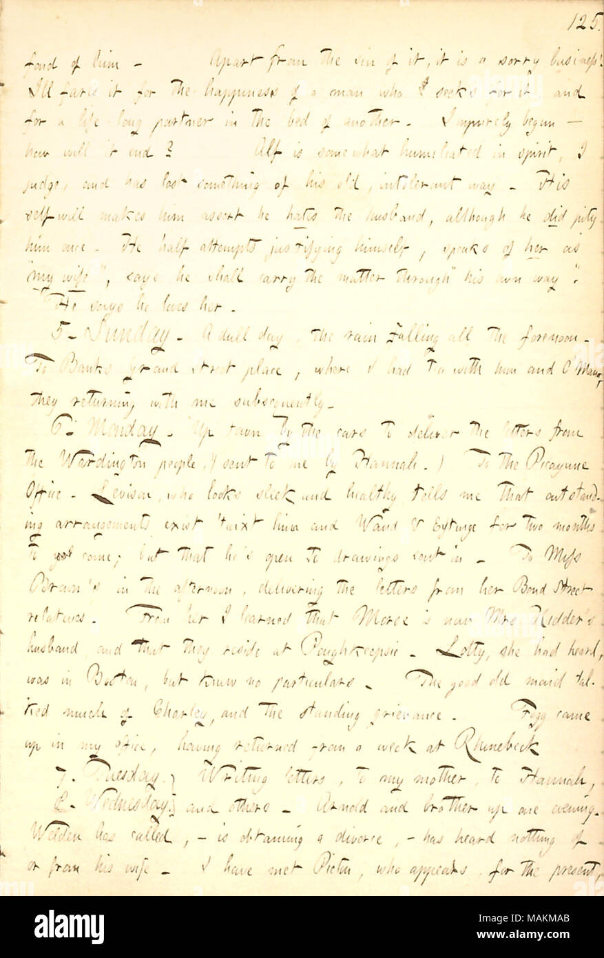 Describes a visit to Emma Brown, to deliver letters from her brother William and his wife in London.  Transcription: fond of him [Alfred Waud]. Apart from the sin of it, it is a sorry business! Ill fare it for the happiness of a man who seeks for it, and for a life-long partner [Mary Jewell Brainard] in the bed of another [Albert Brainard]. Impurely begun  ? how will it end? Alf is somewhat humiliated in spirit, I judge, and has lost something of his old, intolerant way. His self will makes him assert he hates the husband, although he did pity him once. He half attempts justifying himself, spe - Stock Image