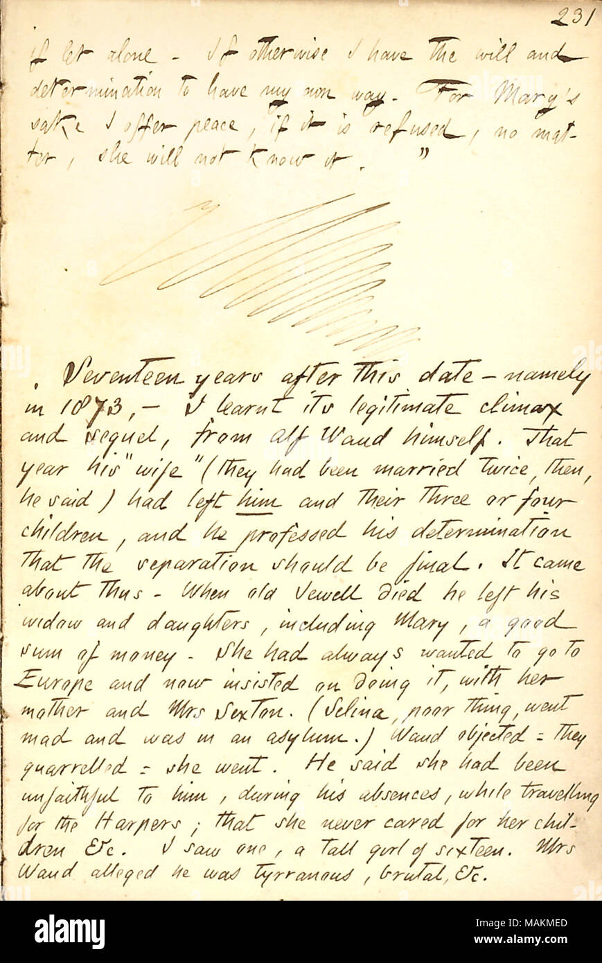 Includes the letter Alfred Waud wrote to Mrs. Jewell, explaining how he eloped with her daughter, Mary, and details from Thomas Butler Gunn in 1873 regarding the eventual end of their marriage.  Transcription: if let alone. If otherwise I [Alfred Waud] have the will and determination to have my own way. For Mary [Brainard]'s sake I offer peace, if it is refused, no matter, she will not know it.' / Seventeen years after this date  ? namely in 1873  ? I learnt its legitimate climax and sequel, from Alf Waud himself. That year his 'wife' (they had been married twice, then, he said) had left him a - Stock Image