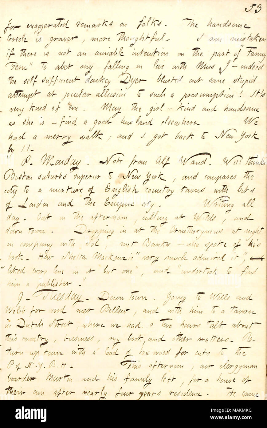 Regarding his suspicions that Fanny Fern is trying to get him to fall in love with Louisa Jacobs.  Transcription: for exaggerated remarks on folks. The handsome Creole [Louisa Jacobs] is graver, more thoughtful. I am mistaken if there is not an amiable intention on the part of 'Fanny Fern' to abet my falling in love with Miss J  ? indeed the self sufficient donkey [Oliver] Dyer blurted out some stupid attempt at jocular allusion to such a presumption! It ?s very kind of 'em. May the girl  ? kind and handsome as she is  ? find a good husband elsewhere. We had a merry walk; and I got back to New - Stock Image