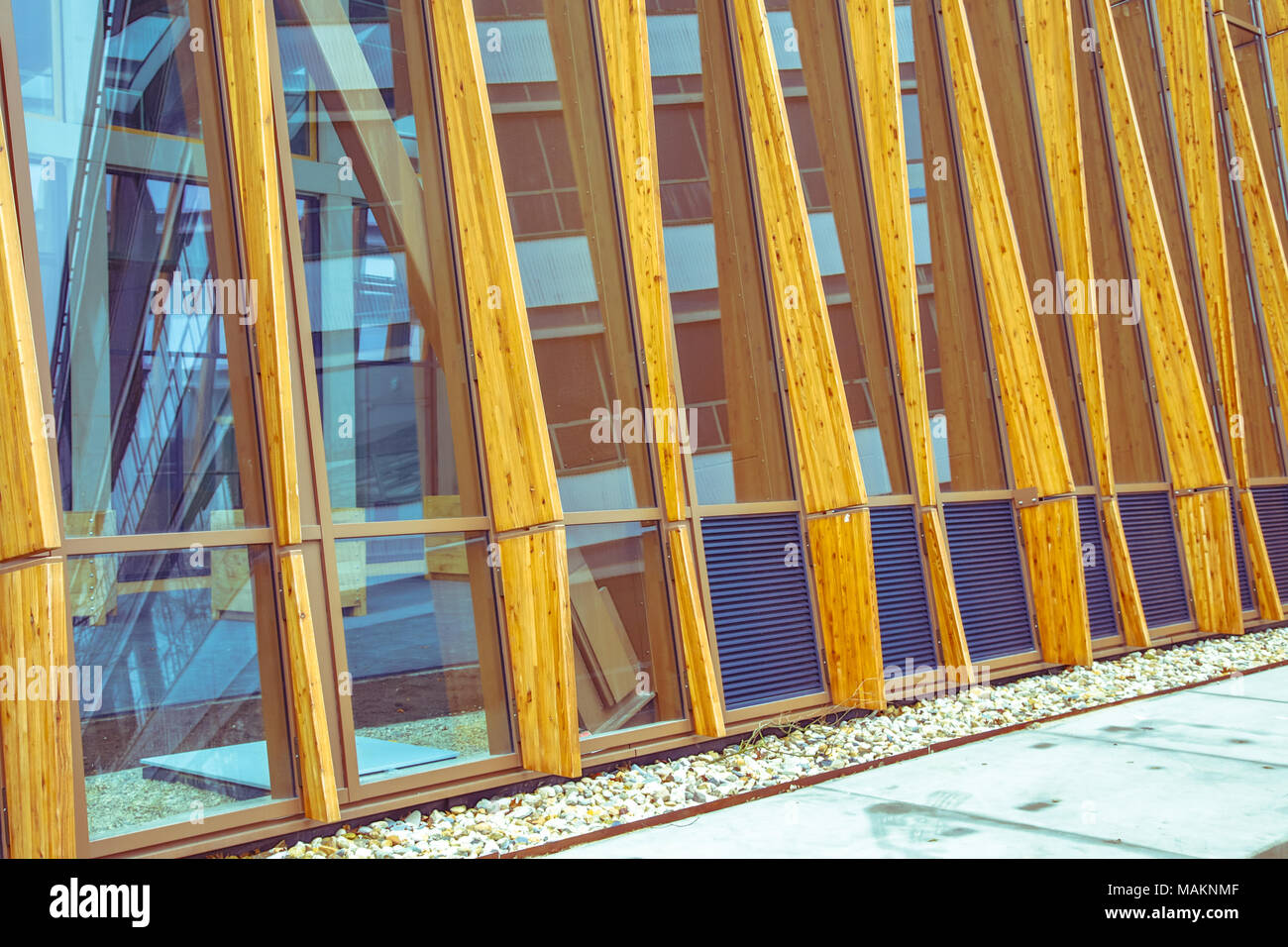 Architectural detail of facade of modern sustainable building on Groningen Campus, Netherlands - Stock Image