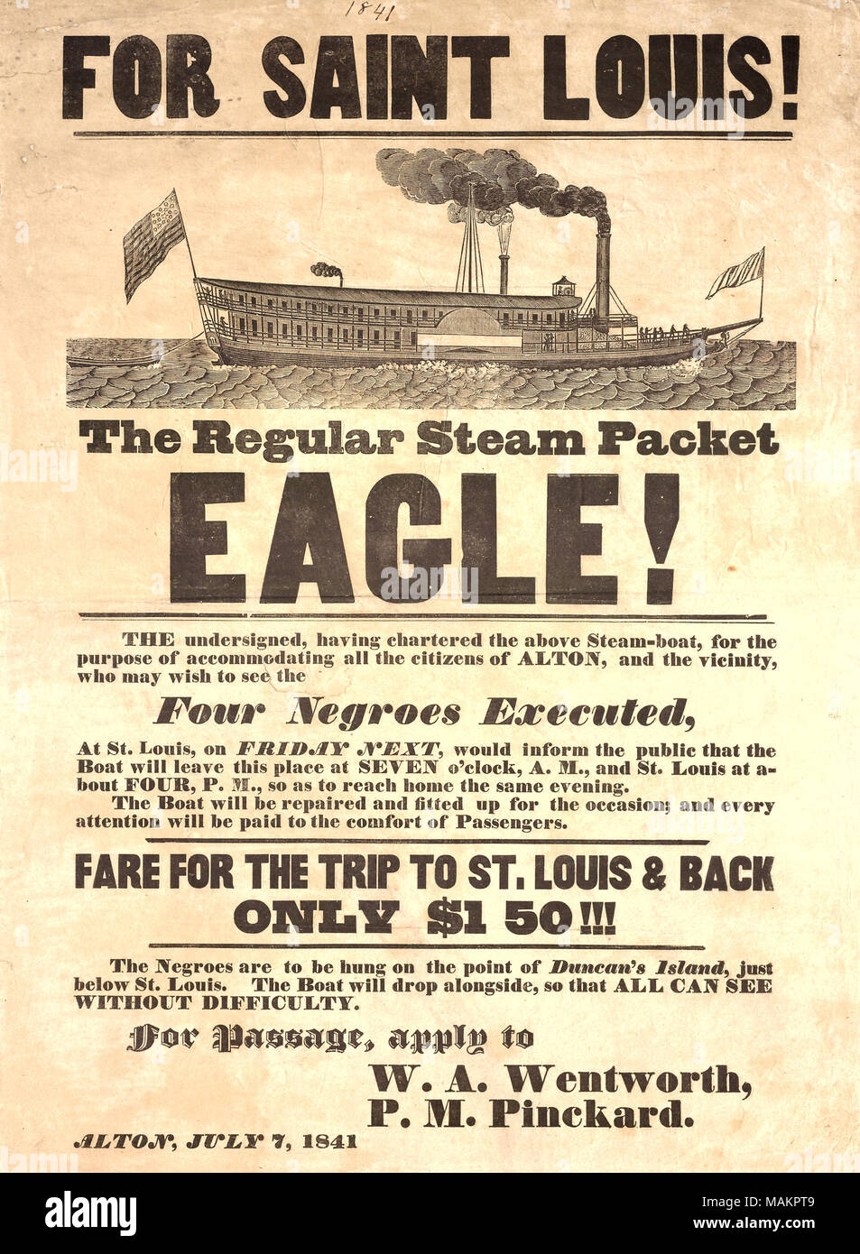 Advertises excursion from Alton to Duncan's Island, St  Louis, to
