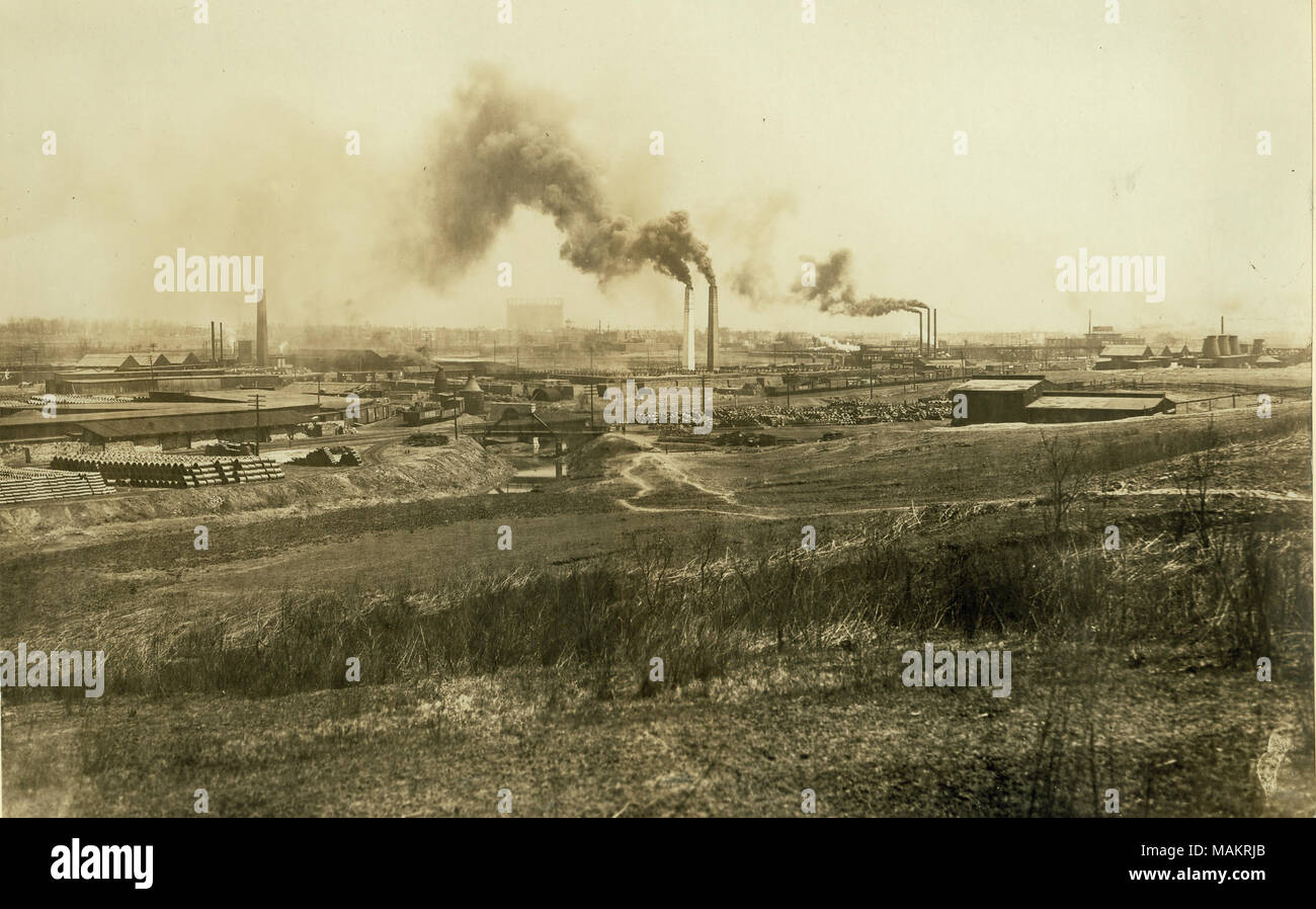 Title: Industrial district along Manchester Avenue. River Des Peres. Flood waters have been seven feet above the top of the sewer in the center of the picture.  . 1916. - Stock Image