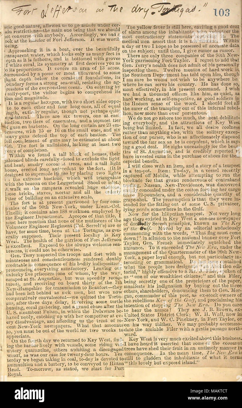 Newspaper clipping describing Key West and Fort Jefferson, and regarding an inspection of the troops by Gen. Terry, an outbreak of Yellow Fever, and commotion with a local newspaper. Title: Thomas Butler Gunn Diaries: Volume 20, page 114, August 13, 1862 [newspaper clipping]  . 13 August 1862. Gunn, Thomas Butler, 1826-1903 - Stock Image
