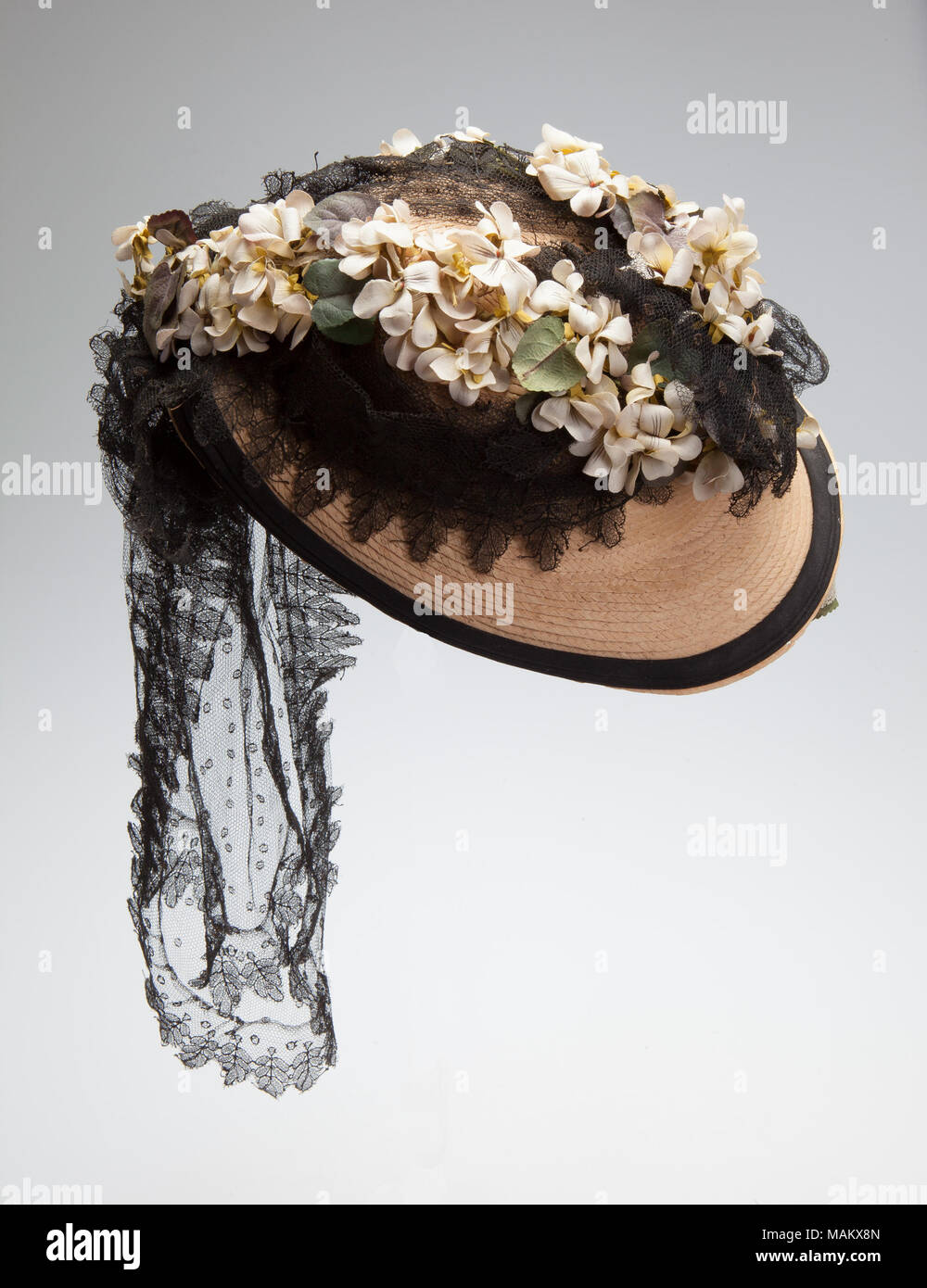 Straw Bonnet With Black Trim And Silk Flowers This Hat Was Worn By