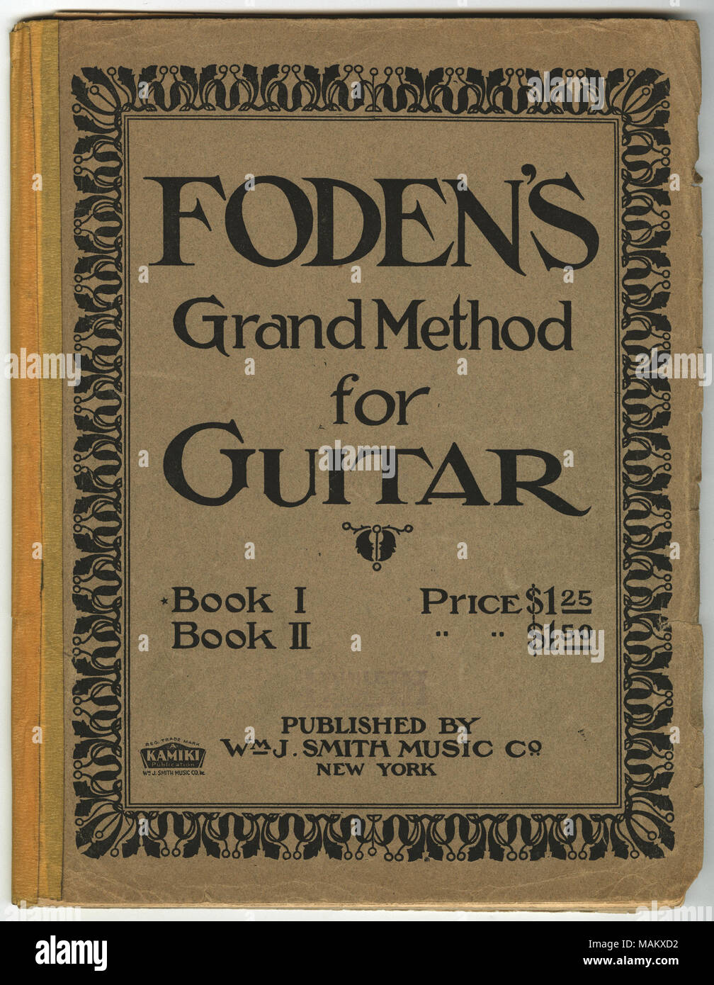 Includes printed instructions on how to play the guitar and music to play on the guitar. Title: Foden's Grand Method for Guitar Book 1, 1920  . 1920. William J. Smith Music Co. - Stock Image
