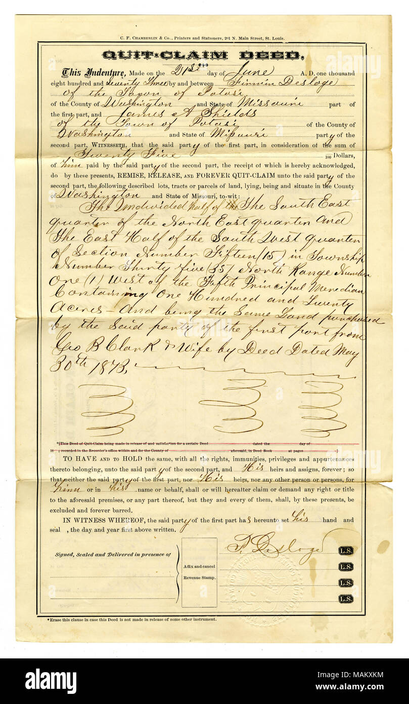 Conveyance of land from Firmin Desloge to James A. Shields for the sum of $25. Property transferred: 120 Acres in Washington County. (Legal description includes previous derivation: property was purchased from George Clark on May 30, 1873). Title: Quit claim deed signed F. Desloge, Potosi, Washington County, June 21, 1873  . 21 June 1873. Desloge, Firmin, Jr., 1843- - Stock Image