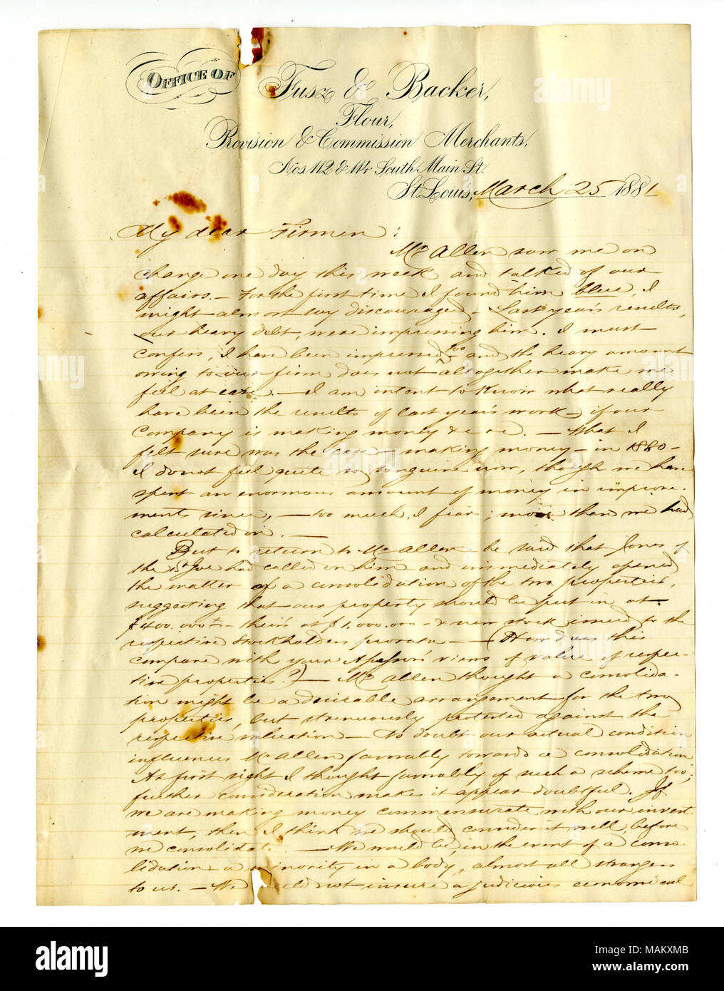 Regarding discussing a proposed merger of the St. Joseph and Desloge Mine Companies. Title: Letter signed Louis Fusz, Fusz and Backer, Flour, Provision and Commission Merchants, March 25, 1881  . 25 March 1881. Fusz, Louis Stock Photo