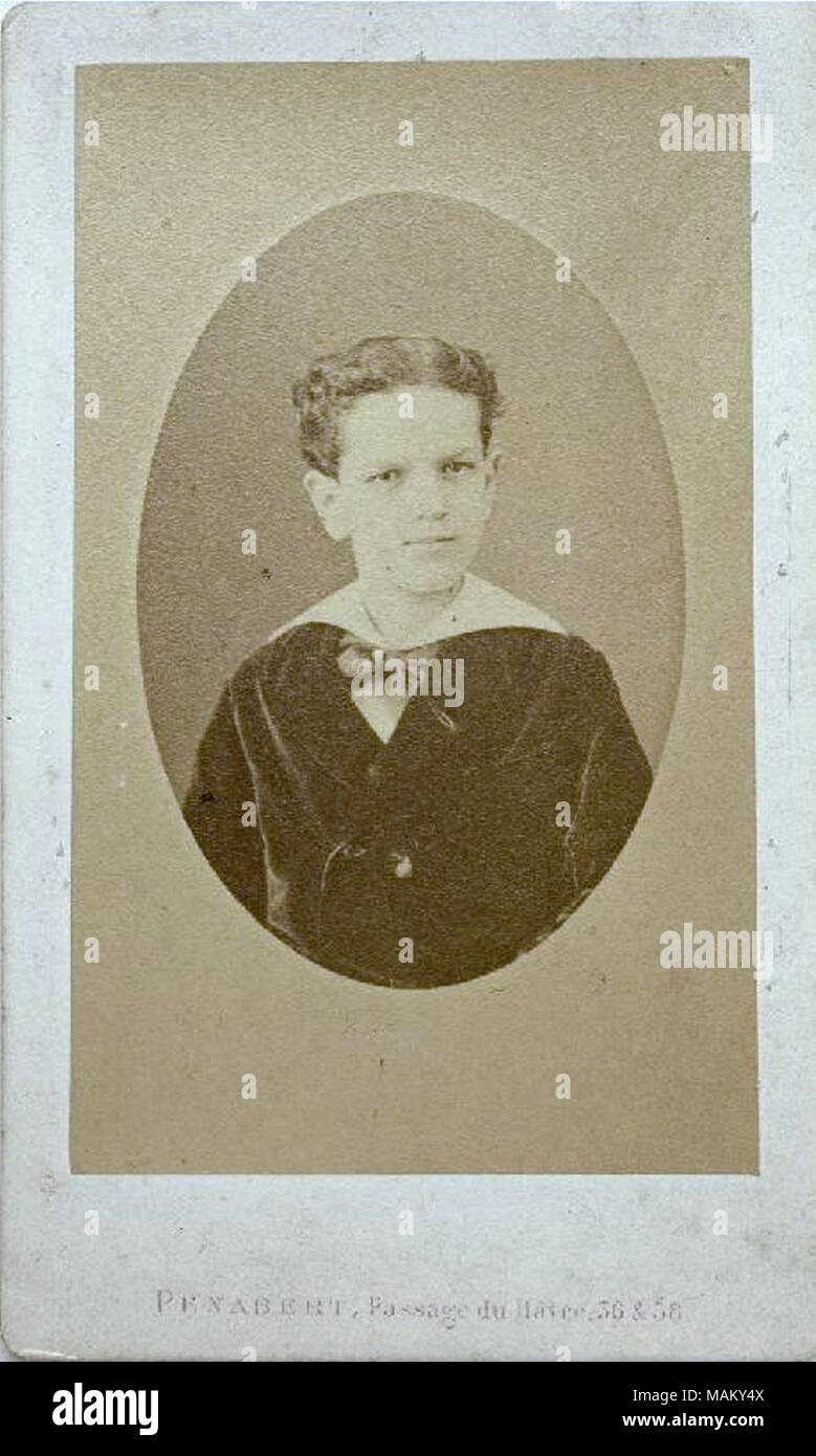 Business card of Claude Debussy, child, circa 1875. French composer ...