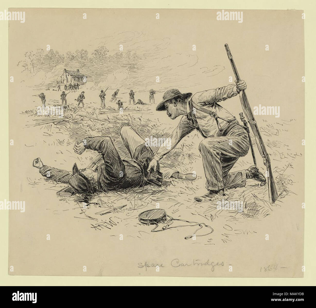 A soldier taking cartridge pouch from dead soldier others shooting in background probably drawn after war time pencil sketch for postwar illustrated