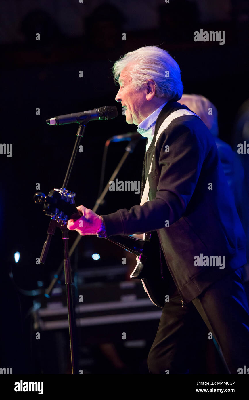 Nantwich, Cheshire, UK. 2nd April, 2018. Mike Pender from The Searchers performs live at the Nantwich Civic Hall as part of the Oh Boy It's the non-stop Sixties show during the 22nd Nantwich Jazz, Blues and Music Festival. Credit: Simon Newbury/Alamy Live News - Stock Image