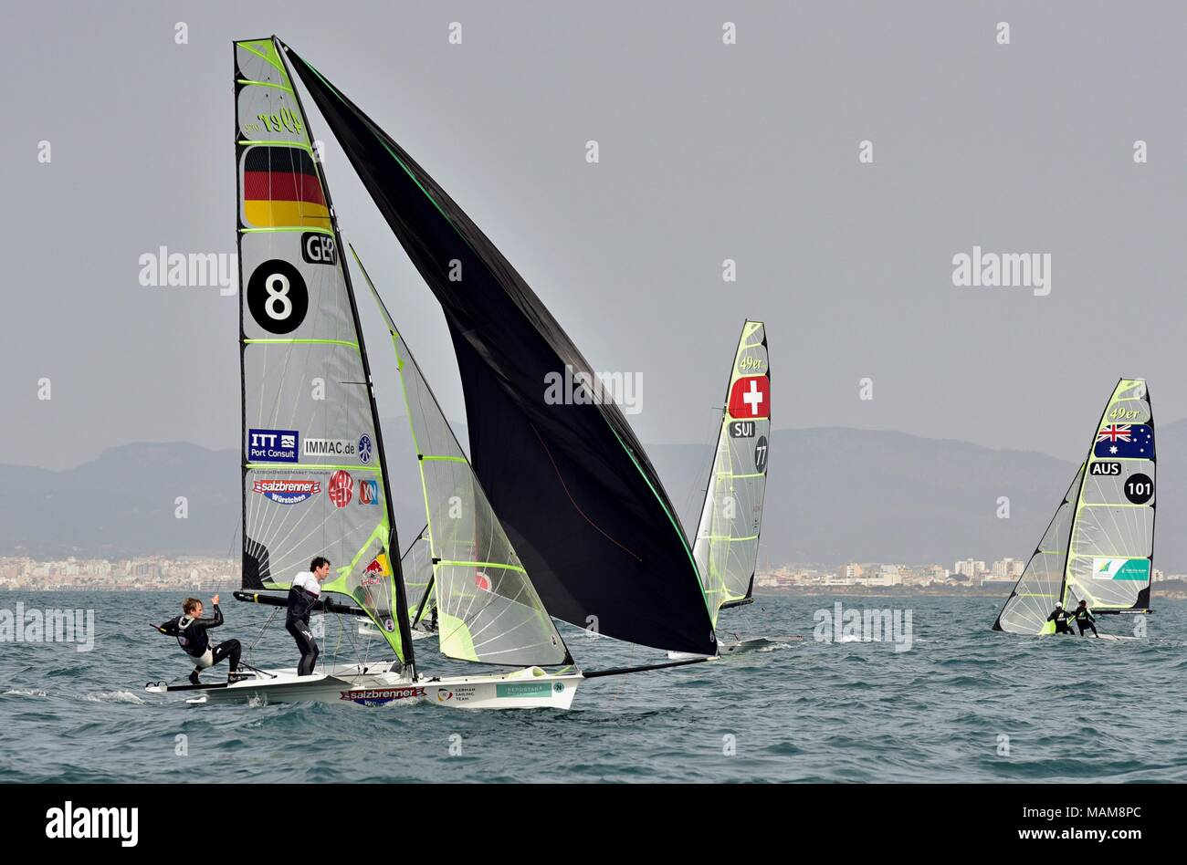 German yatchsmen Justus Schmidt and Thomas Plossel (L) compete in the 49er category during the 49th Princess Sofia Sailing Trophy, celebrated at Palma's Bay in Majorca, Spain, 03 April 2018. EFE/Atienza - Stock Image