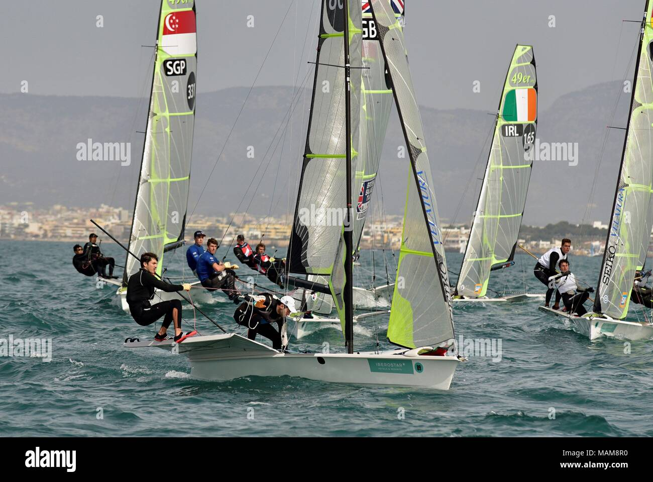 Spanish yatchsmen uan Emilio Bedia and Víctor Perez (forward) compete in the 49er category during the 49th Princess Sofia Sailing Trophy, celebrated at Palma's Bay in Majorca, Spain, 03 April 2018. EFE/Atienza - Stock Image