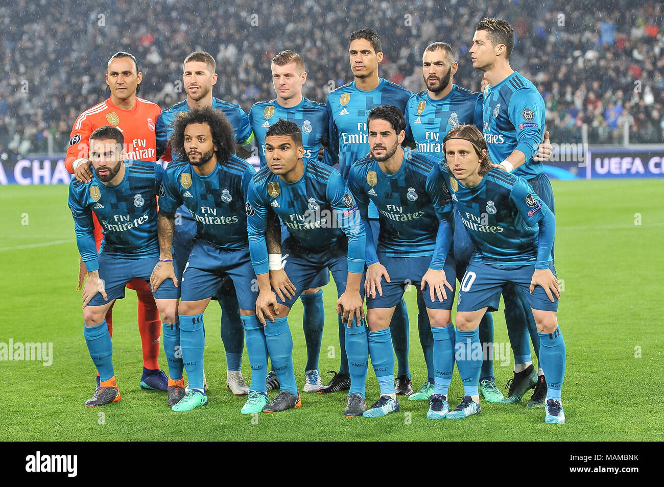 during the UEFA Champions League football match between Juventus FC and Real Madrid CF at Allianz Stadium on 3th April, 2018 in Turin, Italy. - Stock Image