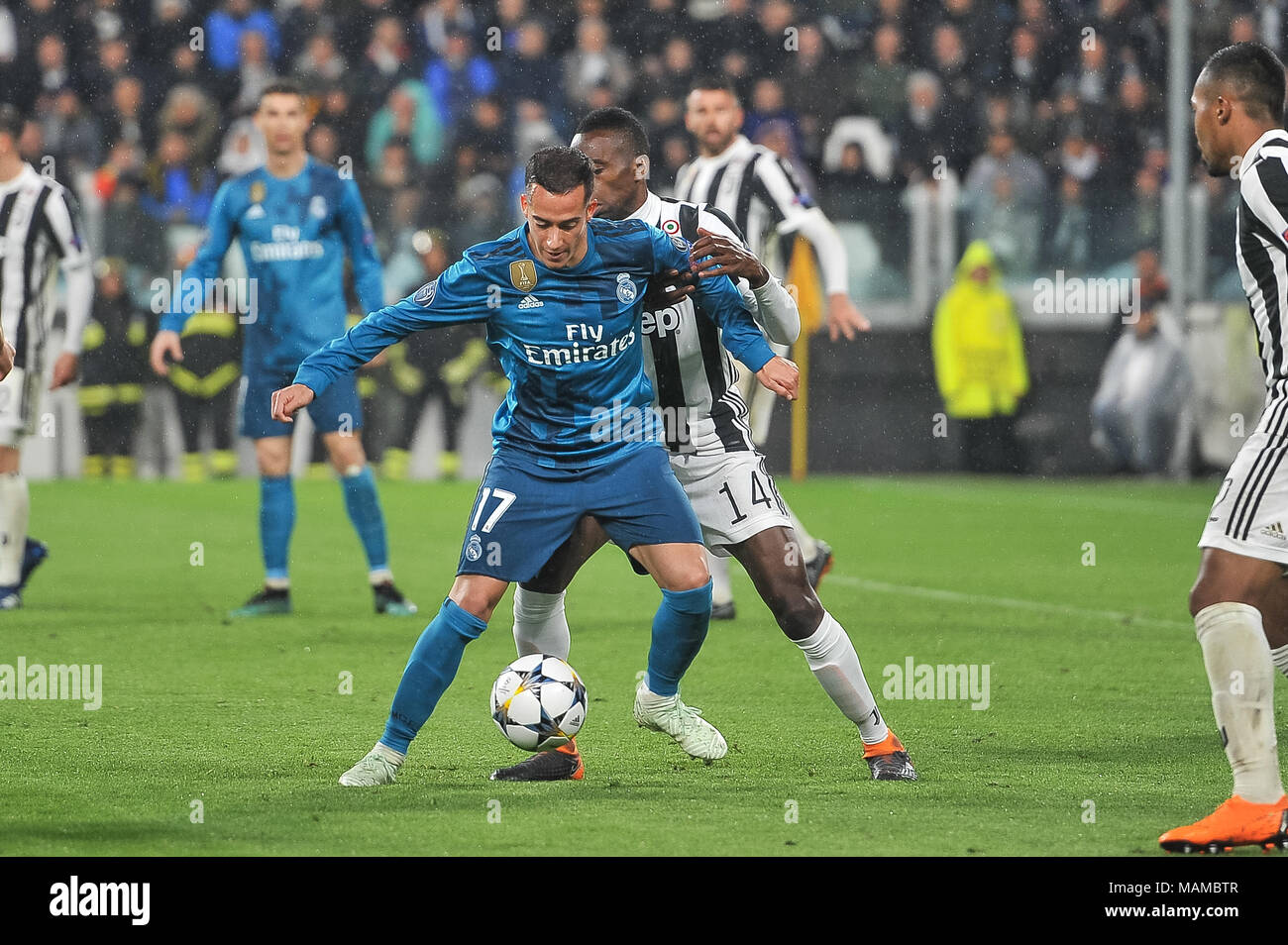 Lucas Vazquez (Real Madrid CF)during the UEFA Champions League football match between Juventus FC and Real Madrid CF at Allianz Stadium on 3th April, 2018 in Turin, Italy. - Stock Image