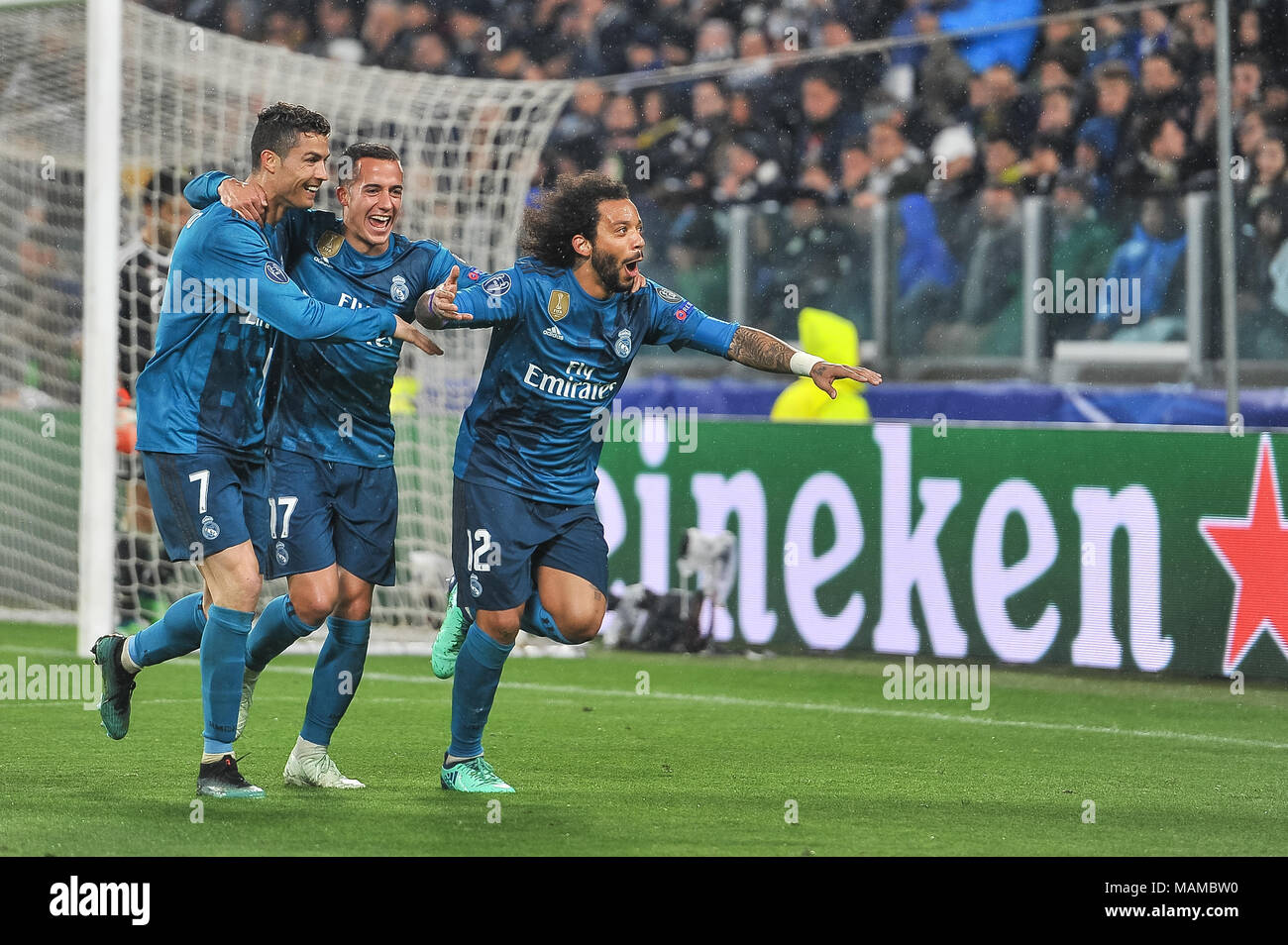 Marcelo (Real Madrid CF) and Cristiano Ronaldo (Real Madrid CF) during the UEFA Champions League football match between Juventus FC and Real Madrid CF at Allianz Stadium on 3th April, 2018 in Turin, Italy. - Stock Image