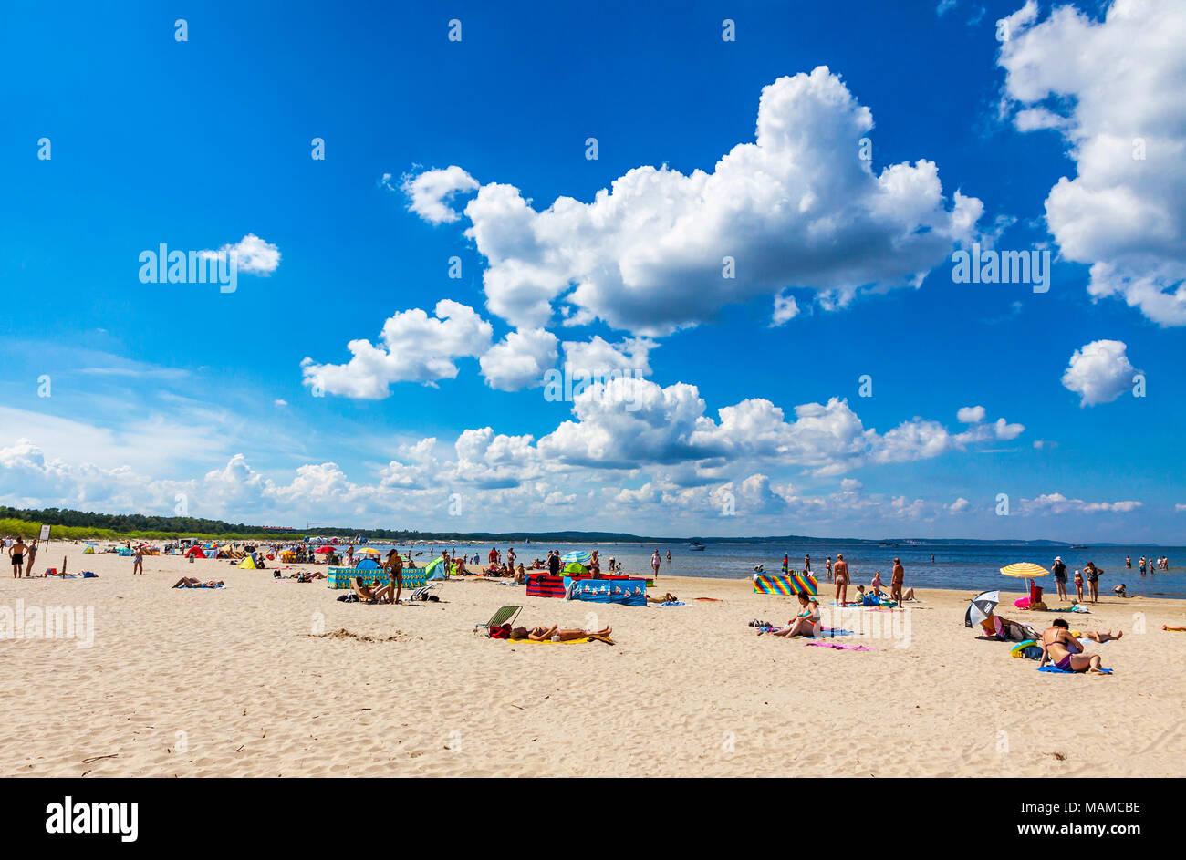 Panoramic view of crowded Baltic sea beach on Usedom island in Swinoujscie, Poland Stock Photo
