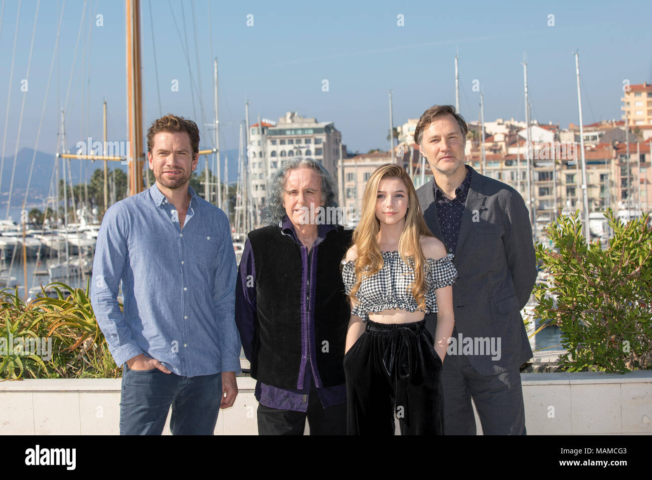 Actor Nikolaj Lie Kaas, British musician Donovan Philip Leitch, British actress Eleanor Worthington Cox attend the MIPCOM, Cannes, Oct. 16, 2017 - Stock Image