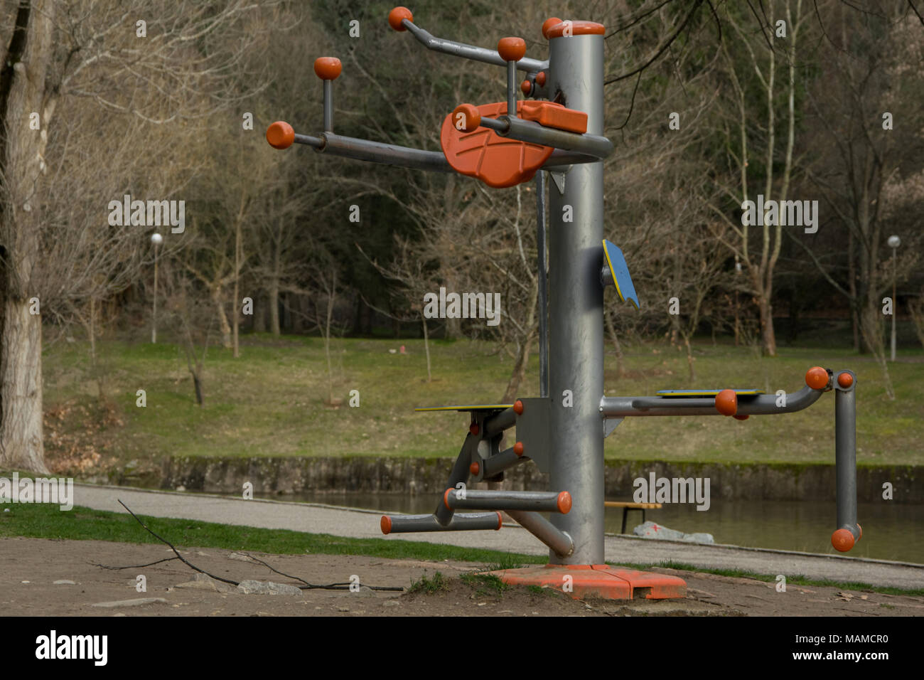 Public fitness equipment in the park, healthy lifestyle concept - Stock Image
