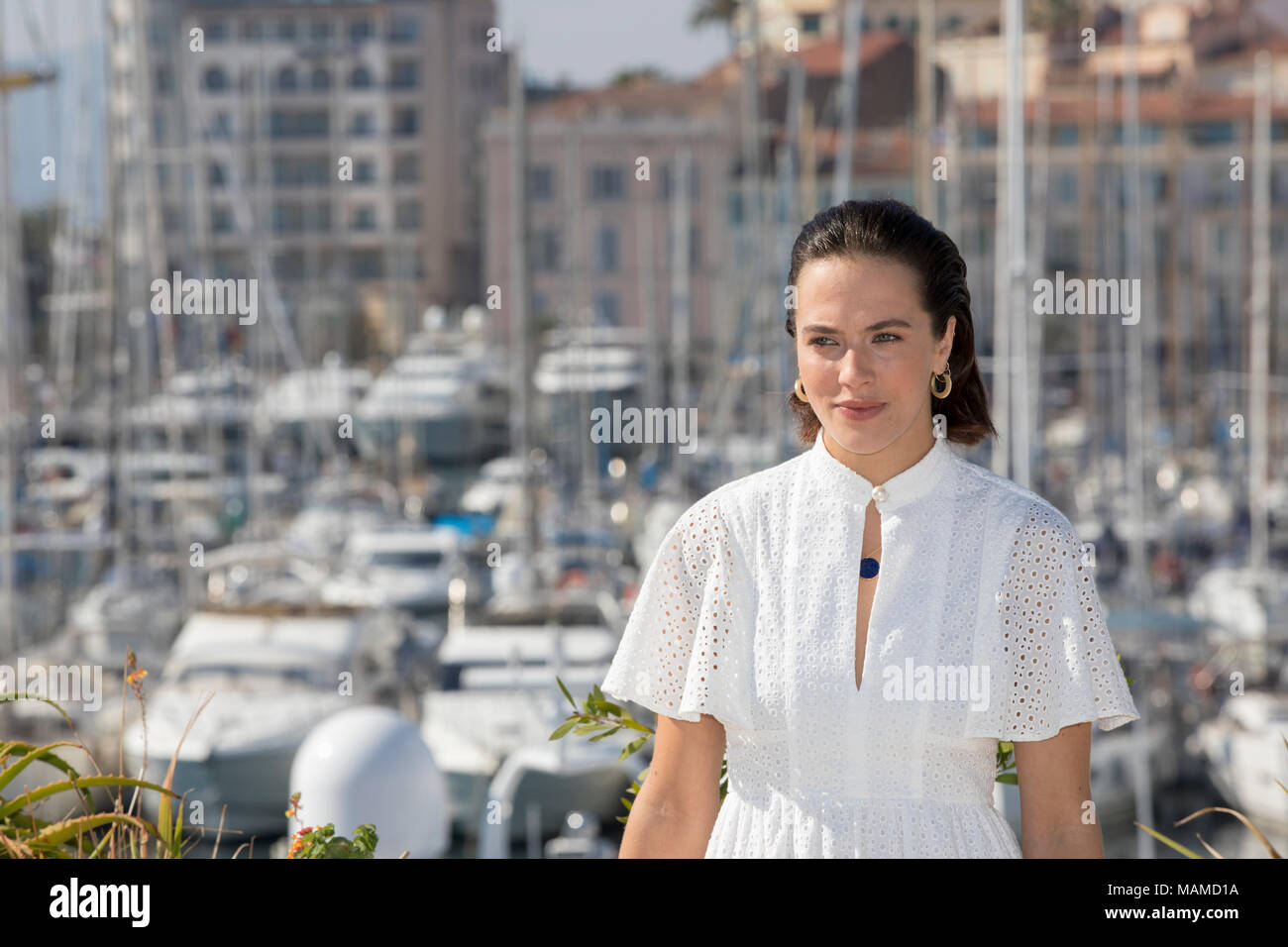 Jessica Brown Findlay - 'Harlots' attend the Photocall at MipCom 2017, Cannes, France, Oct. 16 2017 © ifnm - Stock Image