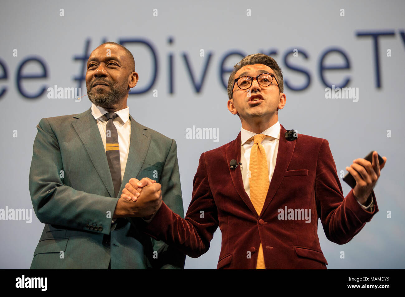 British comedian, writer and actor Sir Lenny Henry calls for tax breaks to increase diversity in TV. MIPCOM Oct. 18 2017, Cannes, France - Stock Image