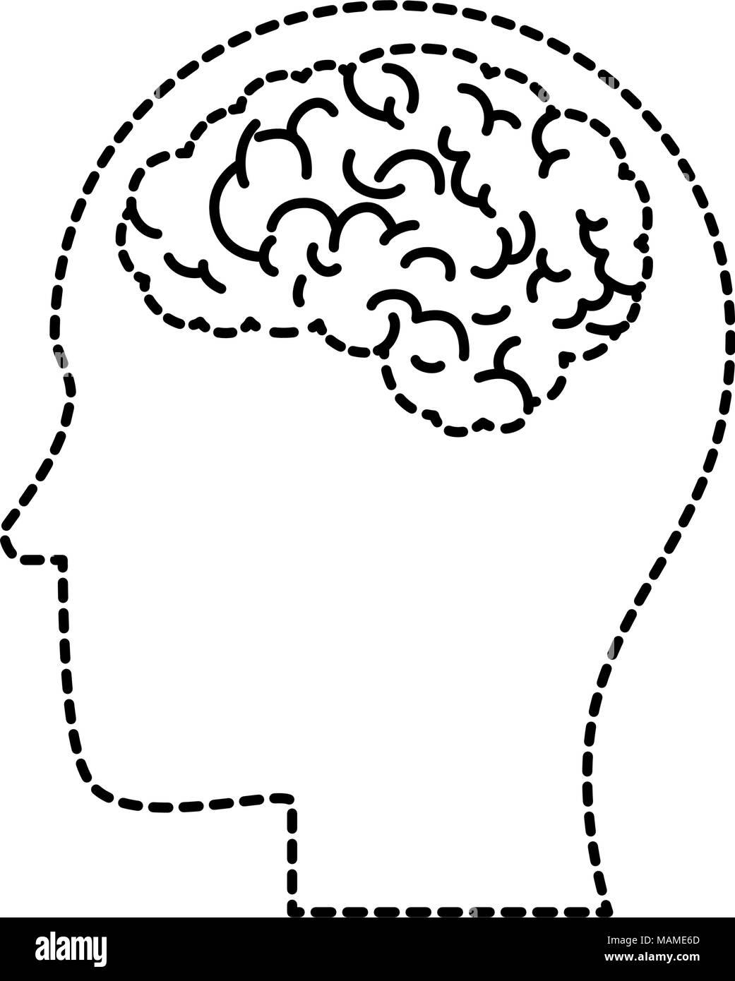 profile with brain human organ icon - Stock Image