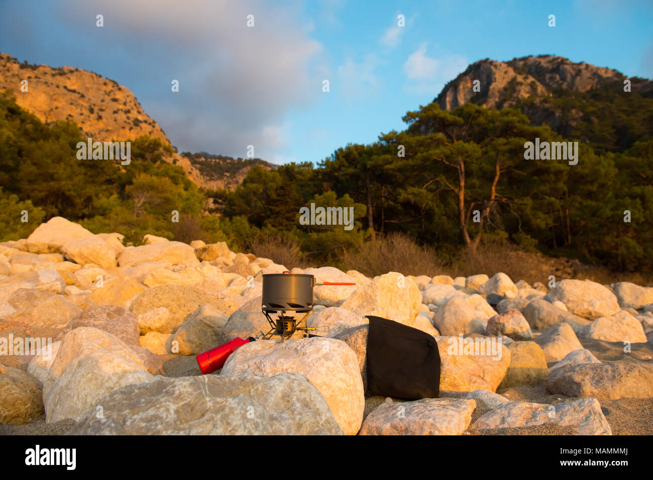Tourist equipment and tools: camping gas - Stock Image