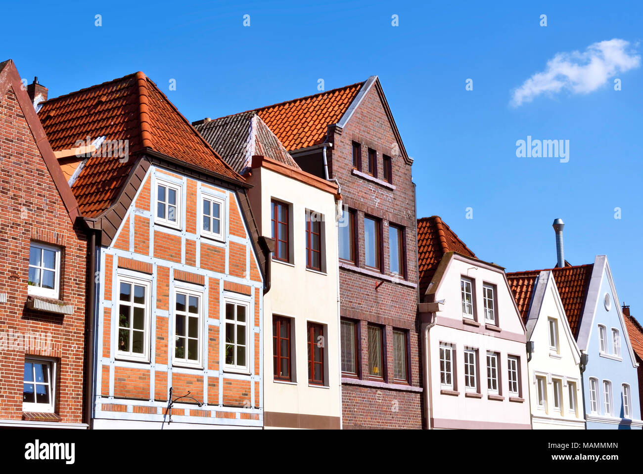 House facades in Buxtehude, northern Germany  Ancient houses or