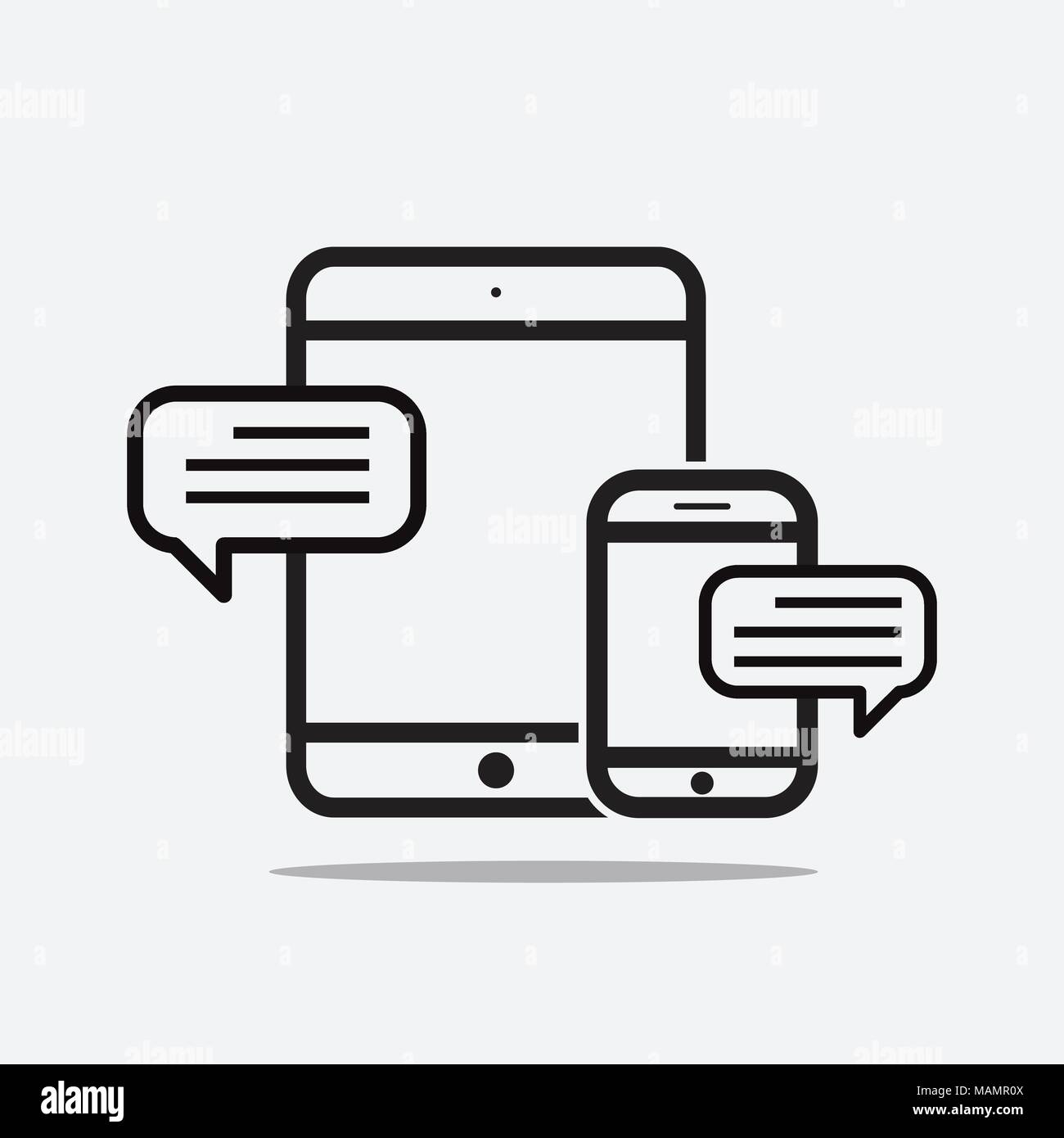 Texting stock vector images alamy outline dialogue icon isolated on grey background line chat symbol for your web site design buycottarizona Images