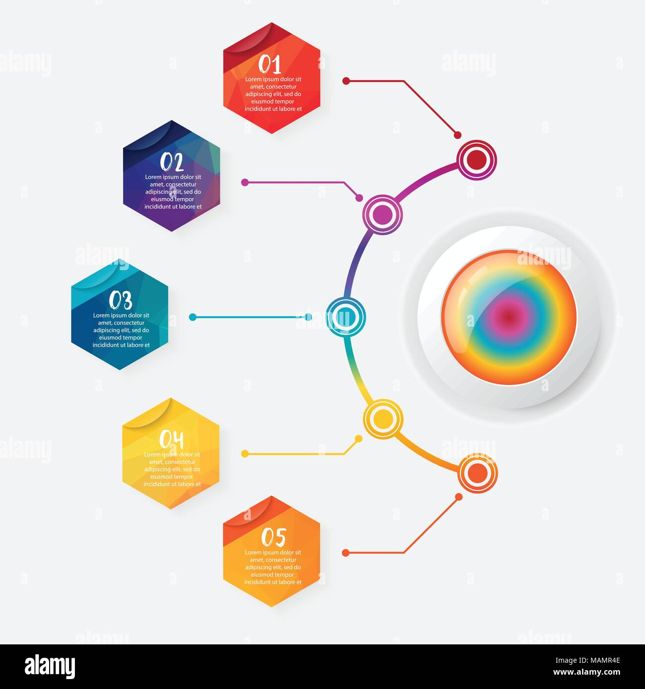 vector infographic template with 3d paper label, integrated circles