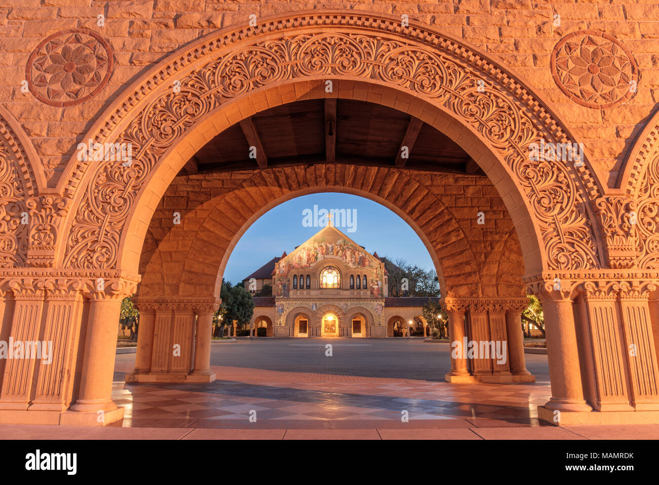 Stanford, California - March 28, 2018: North facade of Stanford Memorial Church from the Memorial Court of the Main Quad - Stock Image
