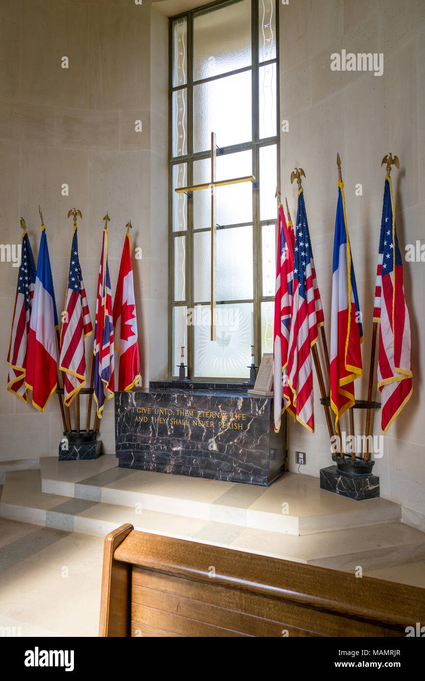 Flags of the Allied Countries inside the chapel at the Garden of the Missing, Normandy American Cemetary near Colleville-sur-Mer, Normandy, France - Stock Image