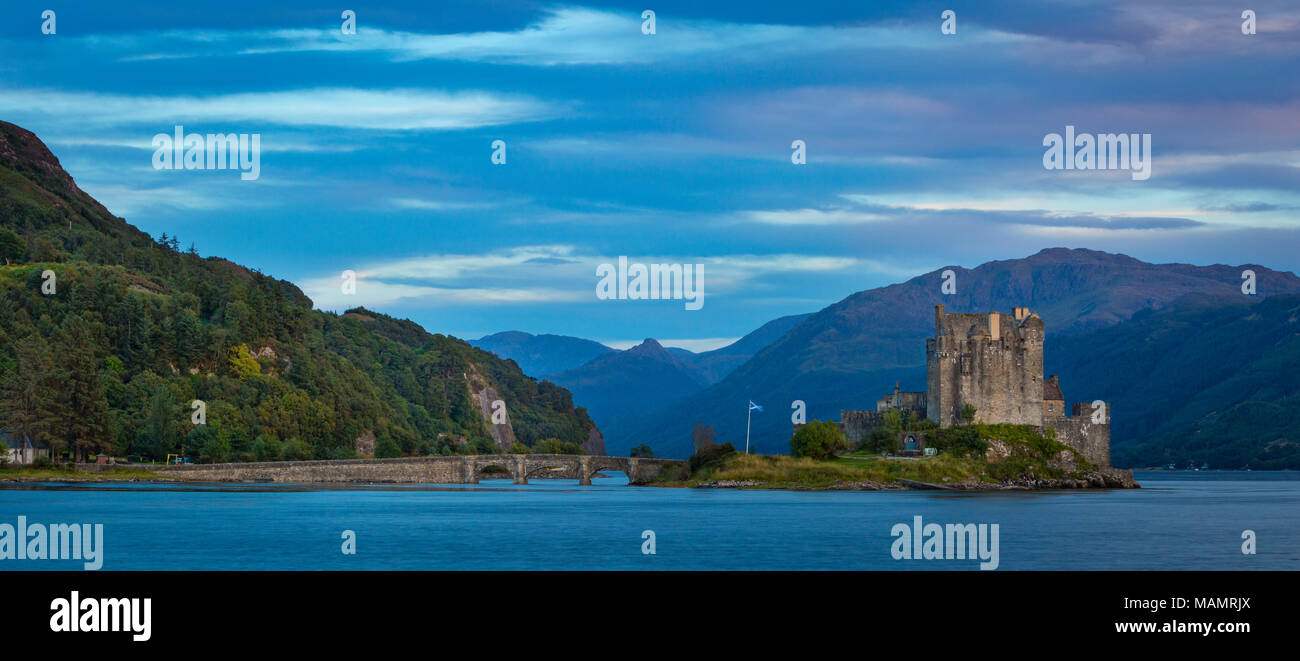 Evening over Eilean Donan Castle on Loch Duich, Dornie, Highlands, Scotland - Stock Image