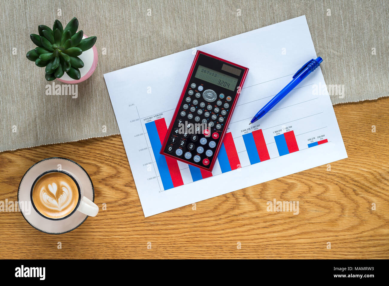 Accountant workspace as flat lay from above with paperwork and accountant workspace as flat lay from above with paperwork and documents with numbers in vertical bar charts and calculator plant and coffee with wo ccuart Gallery