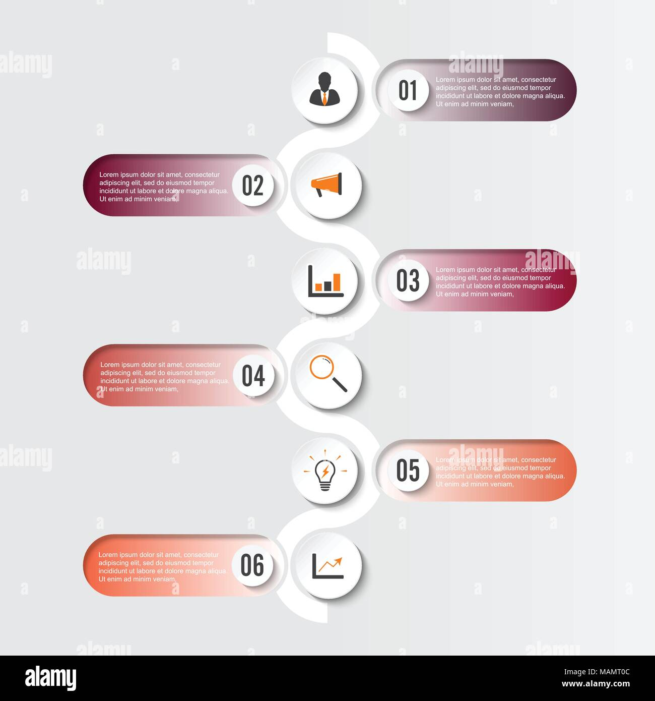 Template Timeline Infographic colored horizontal numbered